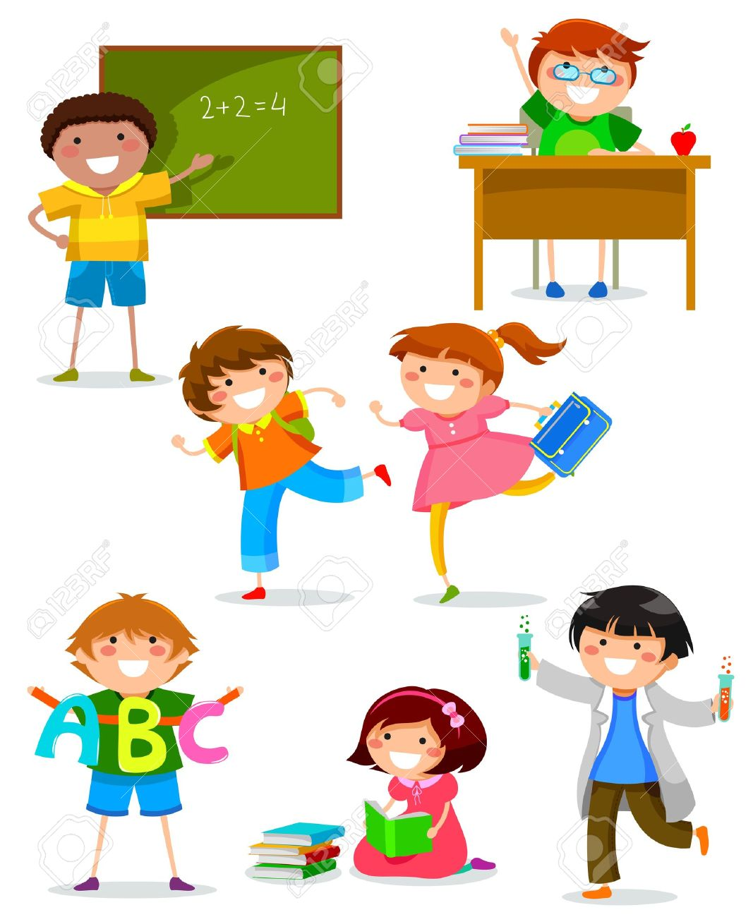 set of kids doing different things at school Stock Vector - 21068517