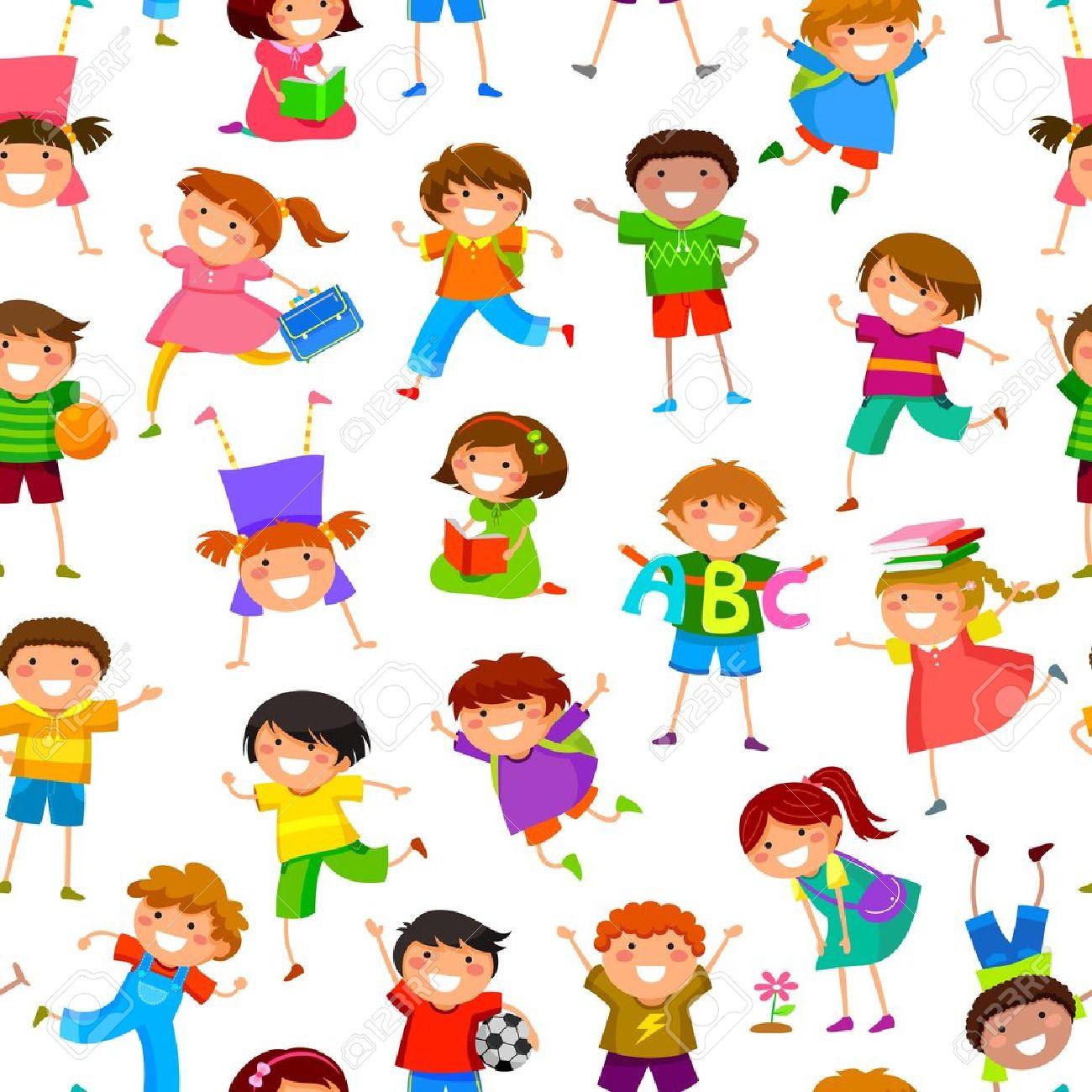 seamless pattern with cartoon kids - 21076472
