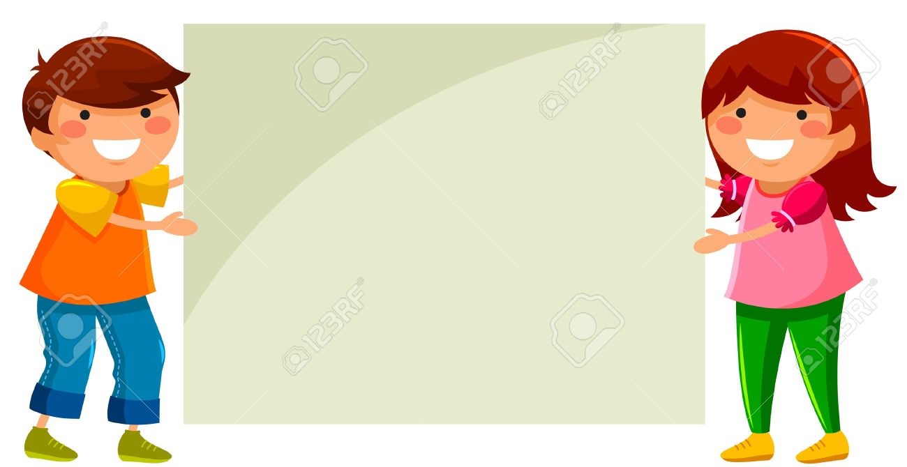 two children holding a blank placard Stock Vector - 21420820