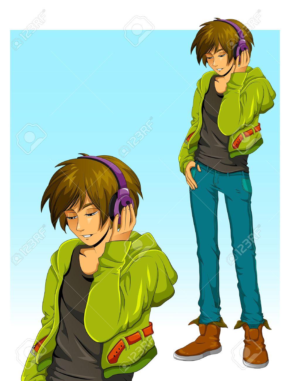 teenage boy wearing headphones - 24960285