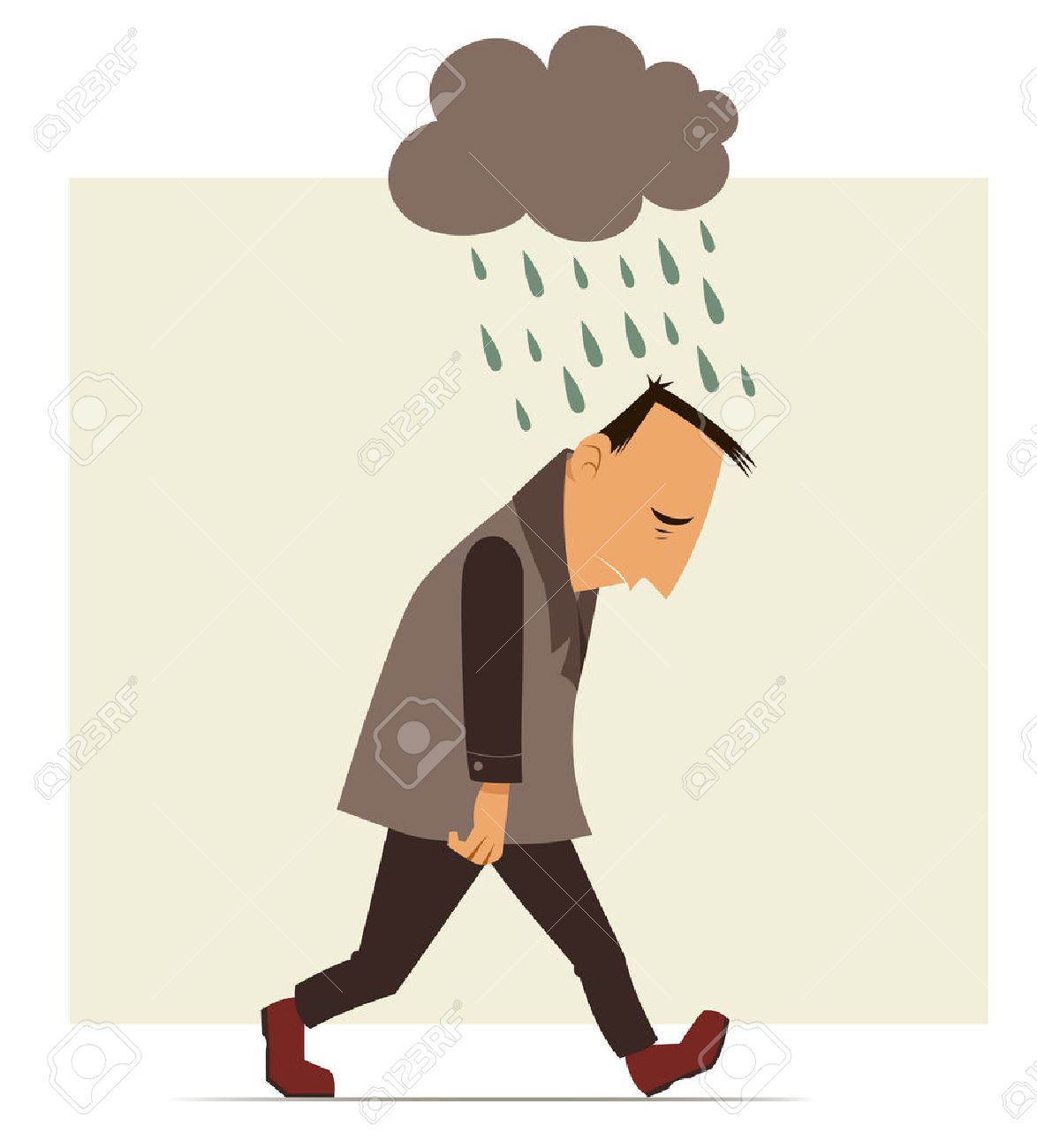 depressed man walking with a cloud of rain over his head - 27291105