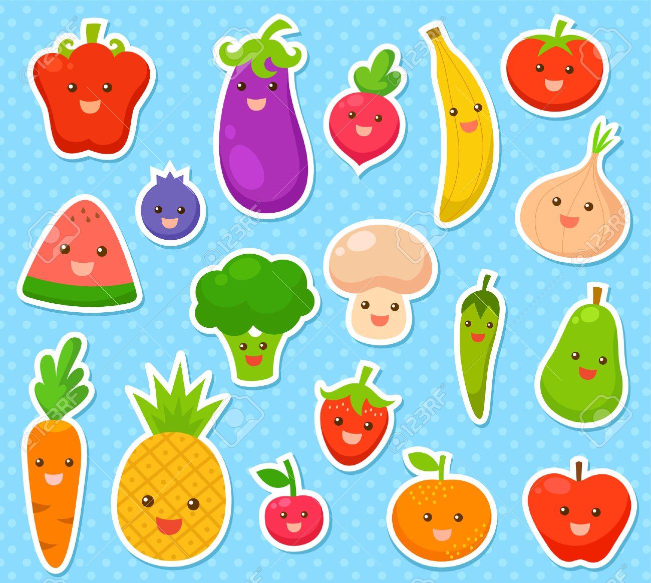 colección de frutas y verduras de dibujos animados ilustraciones