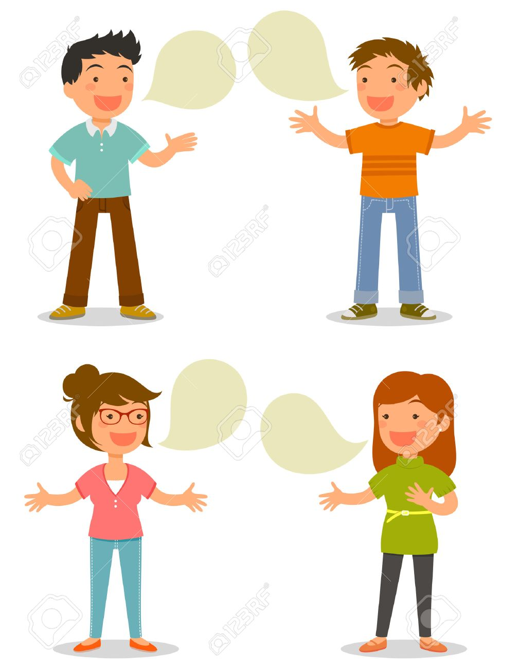 cartoon people talking happily royalty free cliparts vectors and rh 123rf com Cartoon Group of People Cartoon People Clip Art