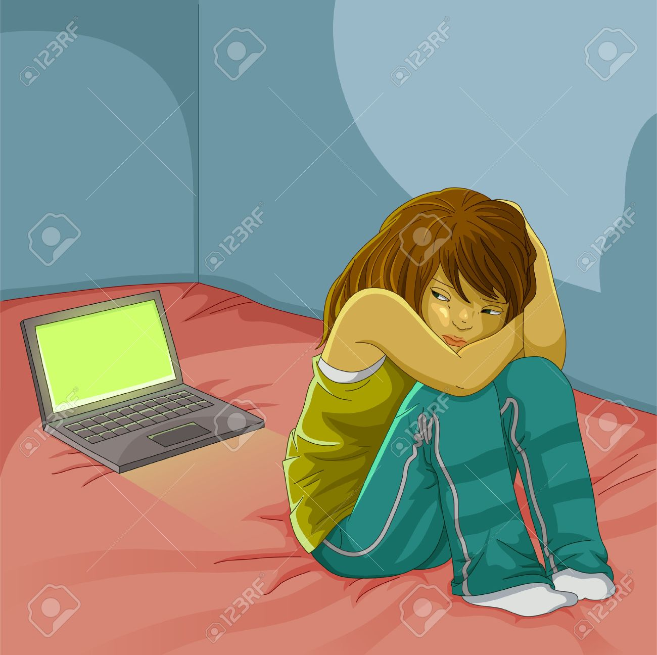 Sad Girl Sitting Alone Next To Her Open Laptop Royalty Free Cliparts