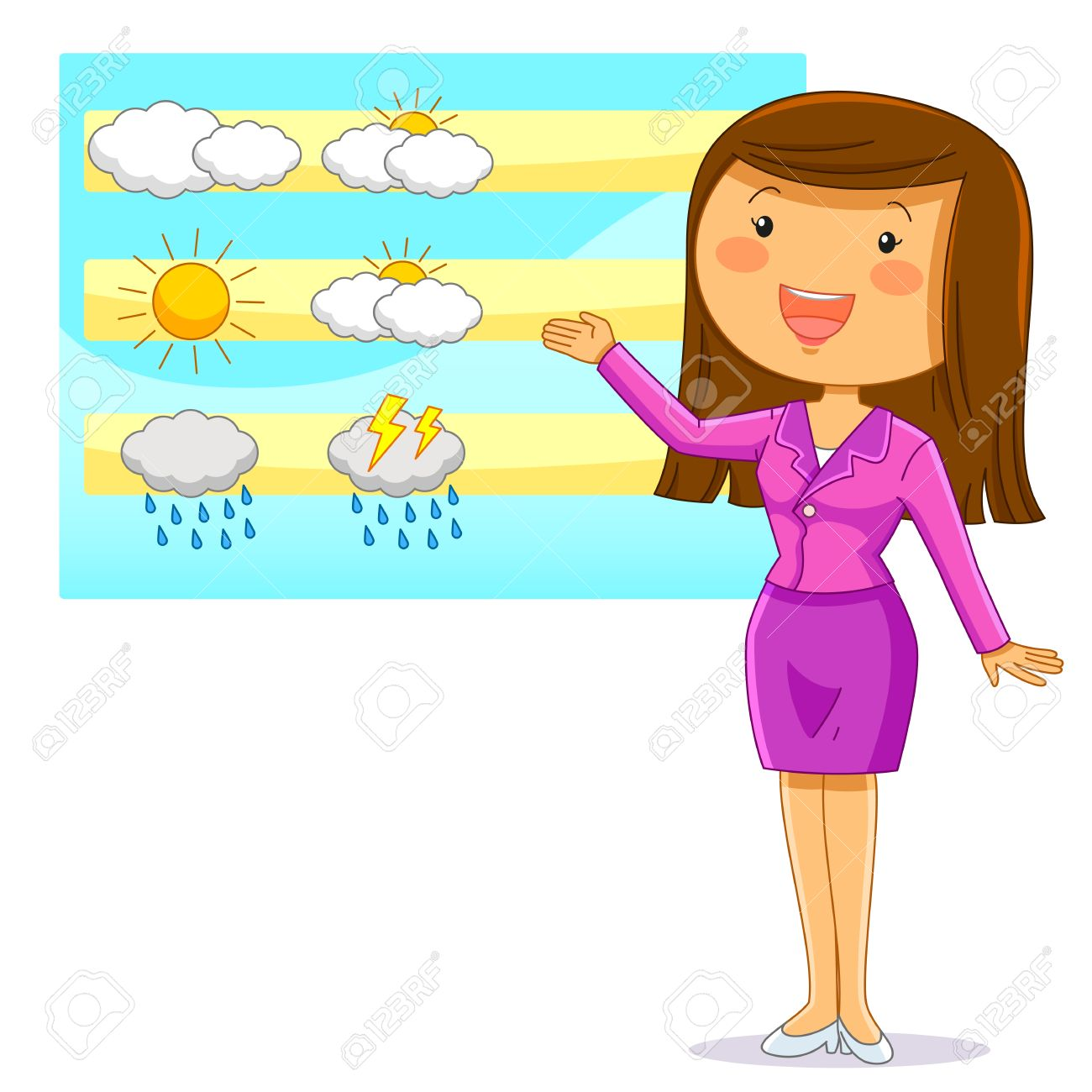 female weather reporter presenting the weather forecast royalty free rh 123rf com weather forecast clips weather forecast clipsham