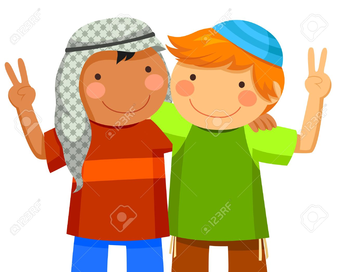 Muslim Boy And Jewish Boy Being Friends Royalty Free Cliparts Vectors And Stock Illustration Image 30561351