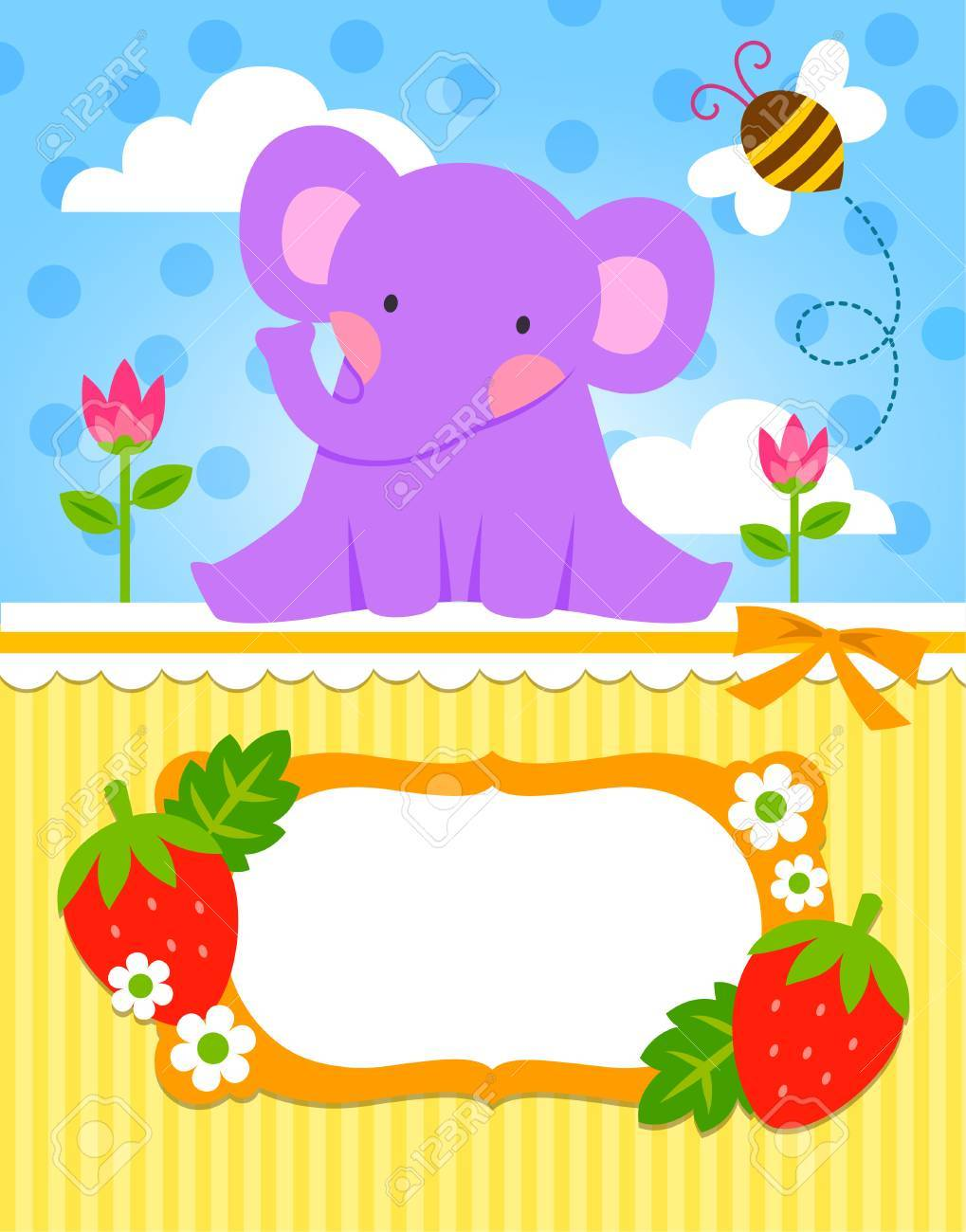 greeting card template with a cute baby elephant royalty free