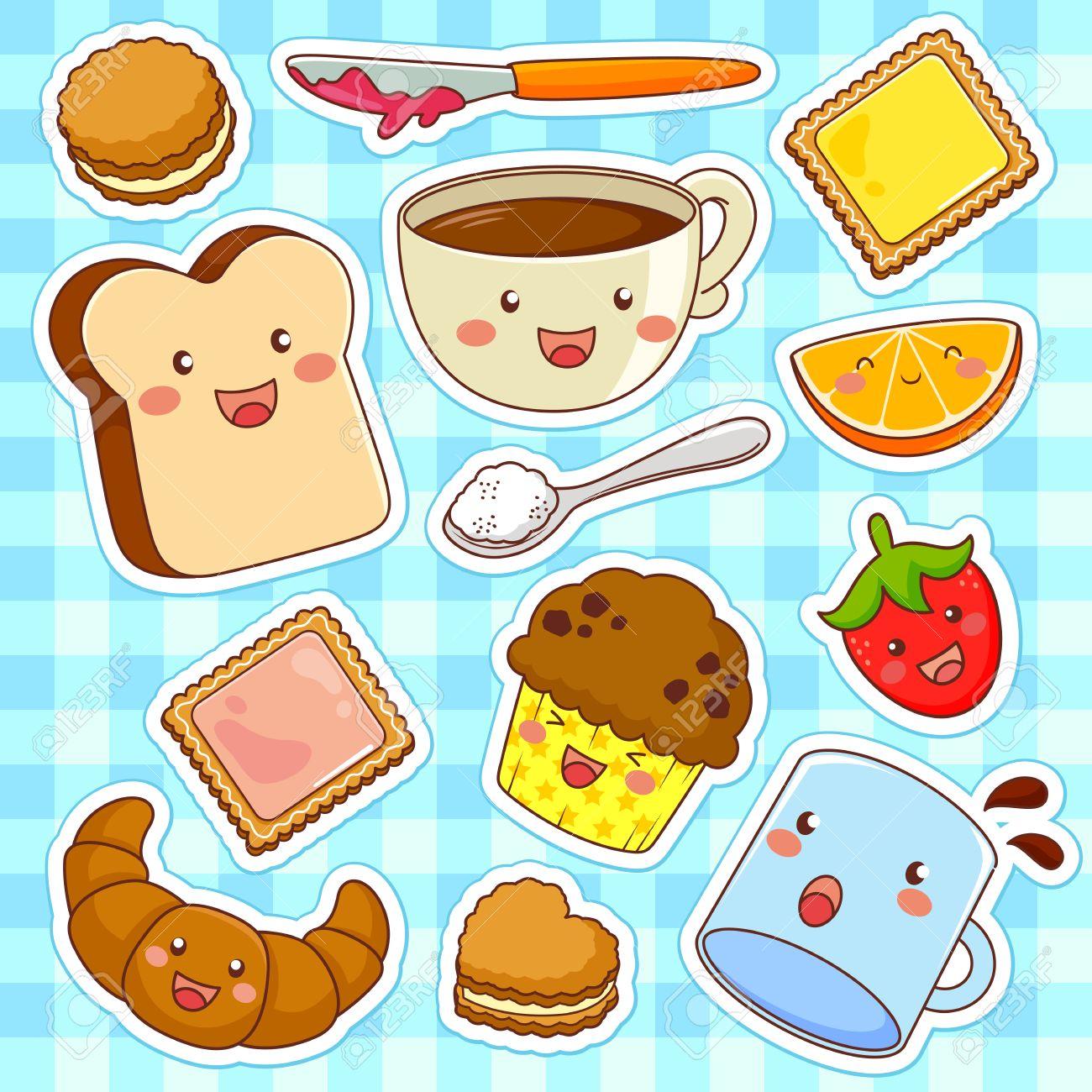 Foto de archivo , alimentos lindo estilo de dibujos animados kawaii