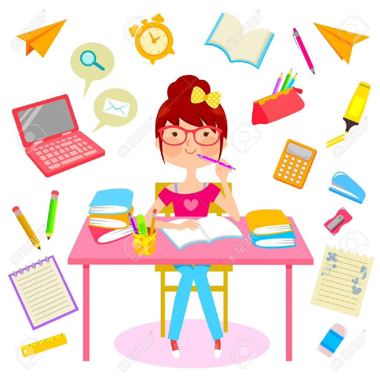 teenage girl surrounded by items related to studying royalty free rh 123rf com  boy and girl studying clipart