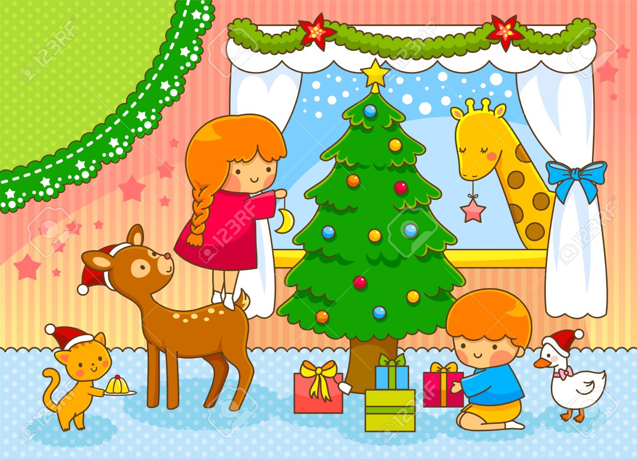 Christmas Card With Cute Cartoons And Space For Text Royalty Free ...