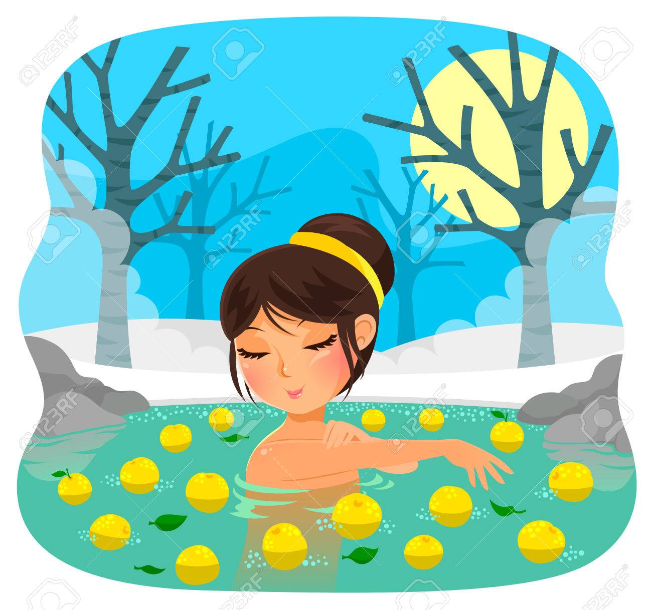Girl Taking A Bath With Yuzu Fruit Tradition During The Japanese ...