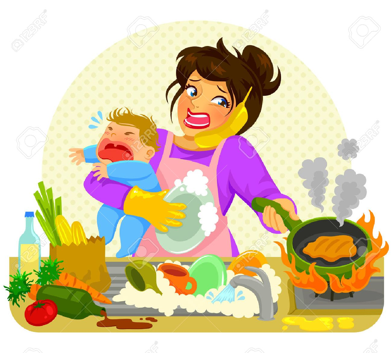 stressed young woman doing many tasks while holding a crying baby - 55083951