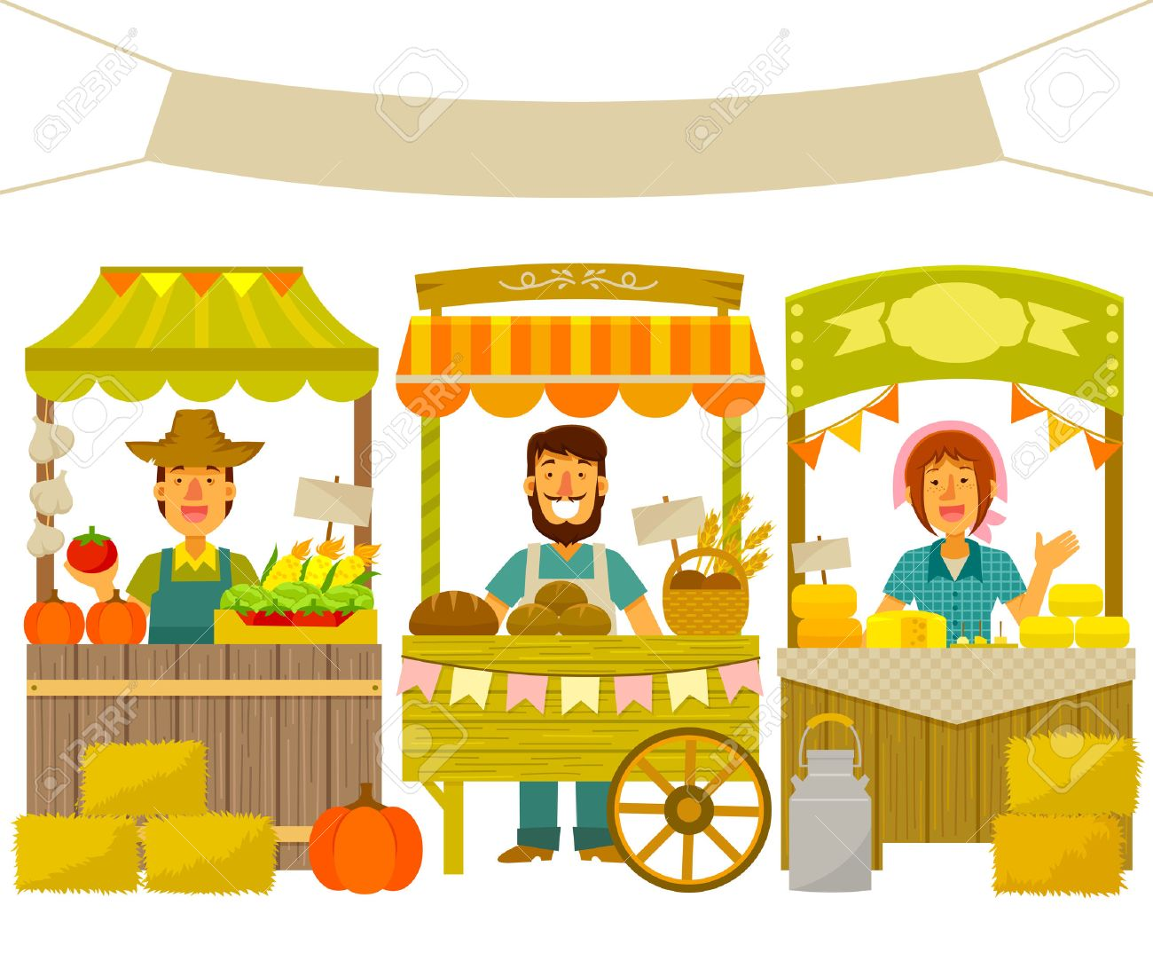 farmers selling their products on wooden stalls - 58027751