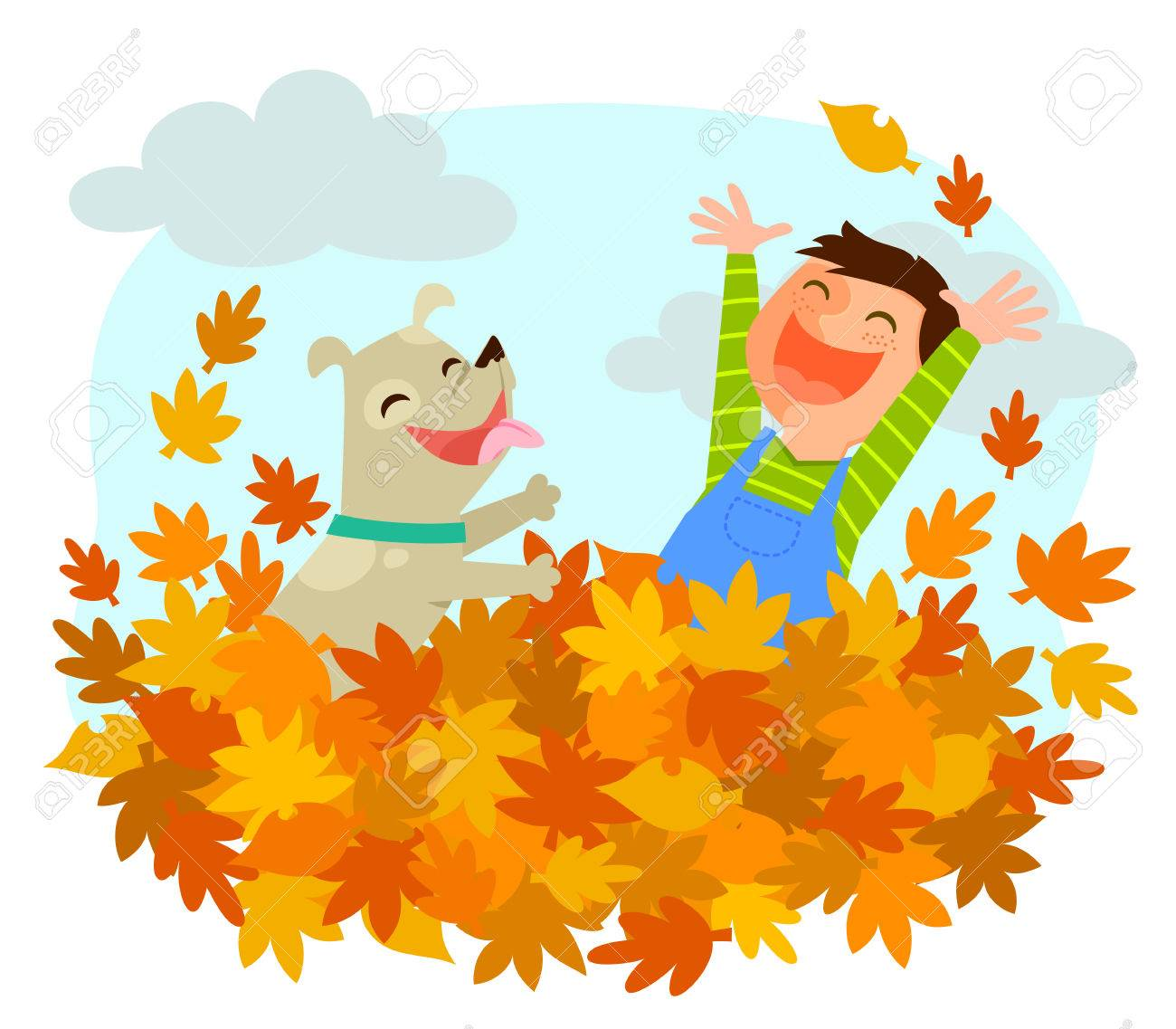 Boy And His Dog Playing In A Pile Of Autumn Leaves Royalty Free Cliparts Vectors And Stock Illustration Image 64664068