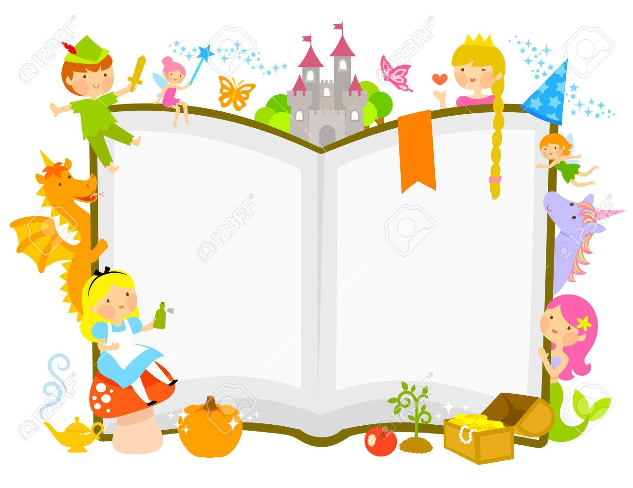 characters of fairytales around an open book - 68882518