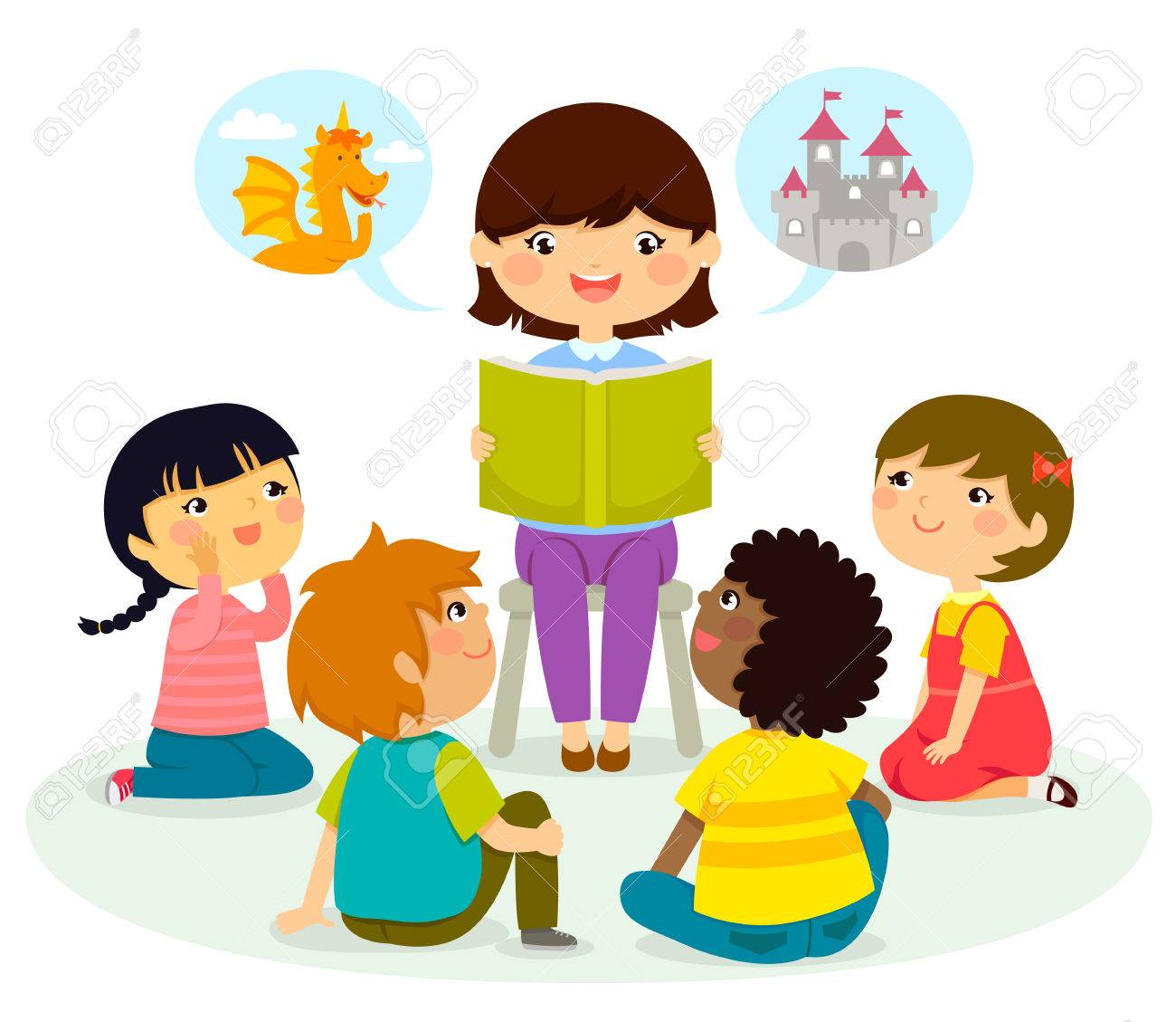 woman reading a book to young children royalty free cliparts