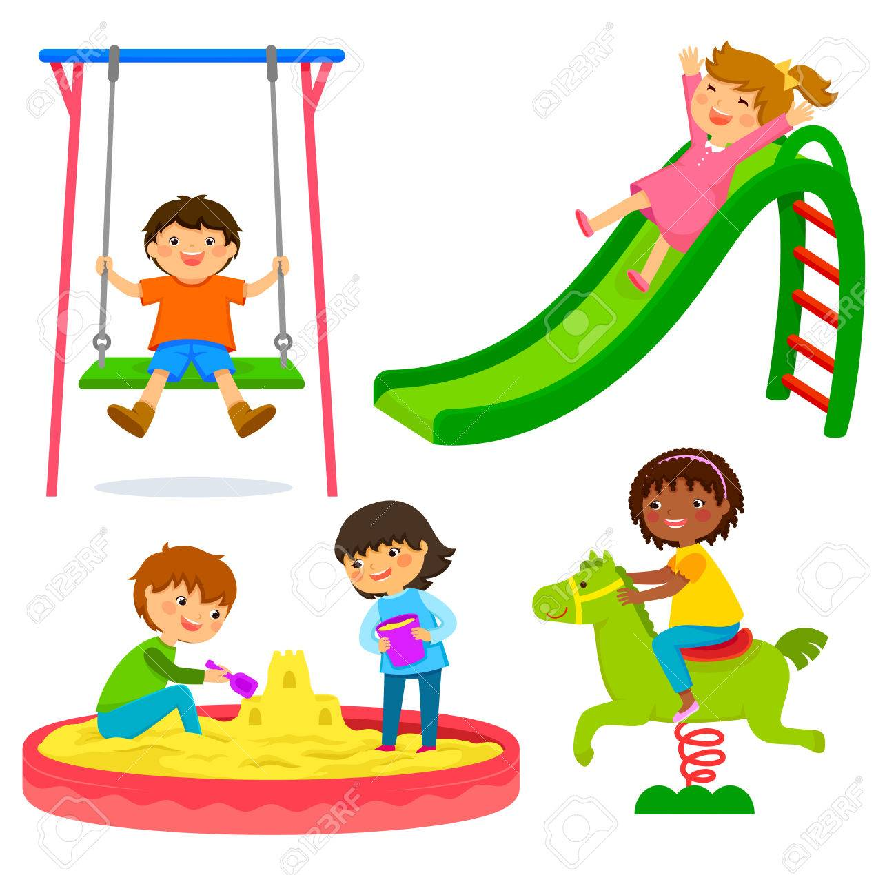 set of kids playing in a playground - 69363451