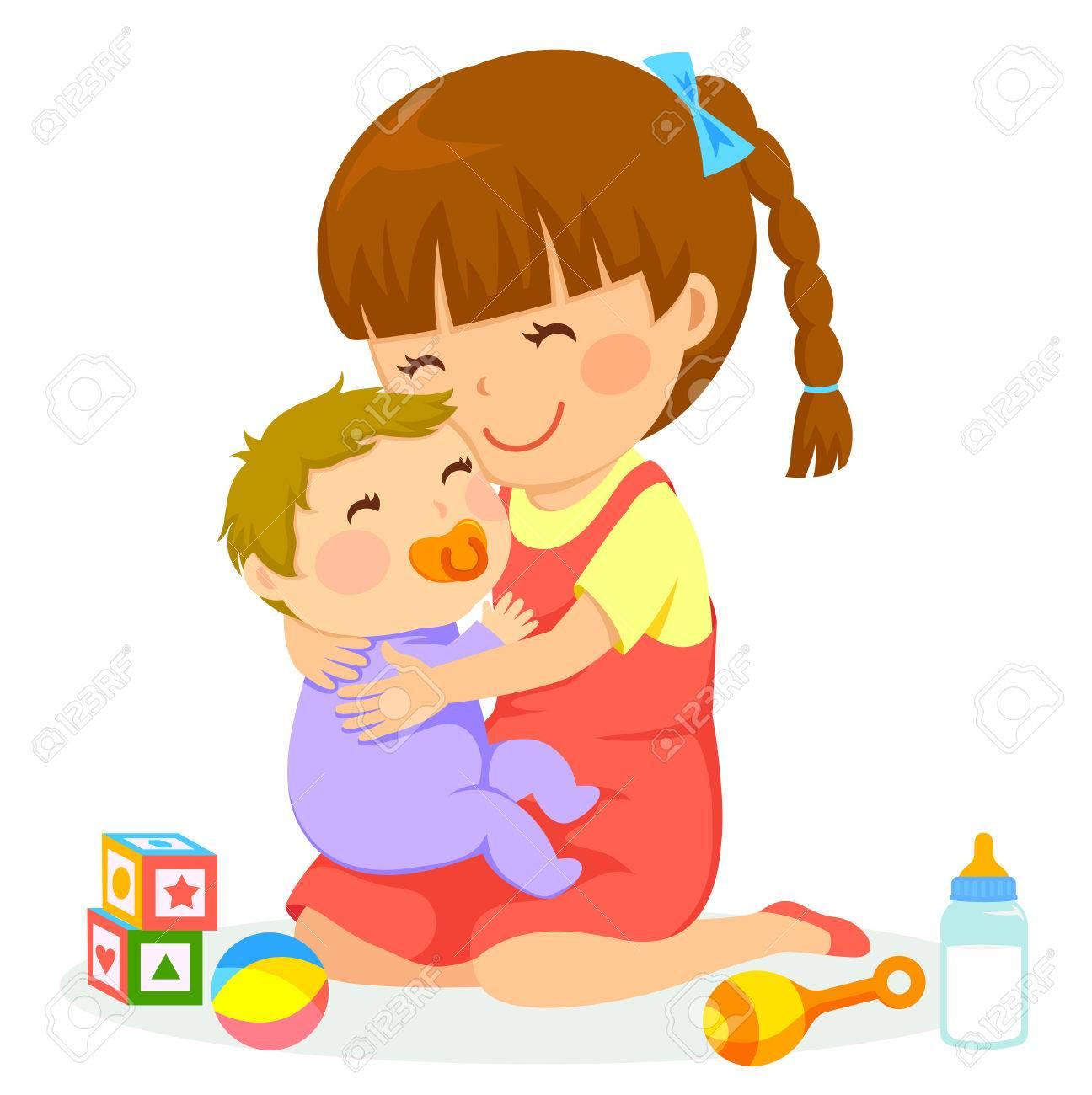 little girl hugging a baby - 69685965