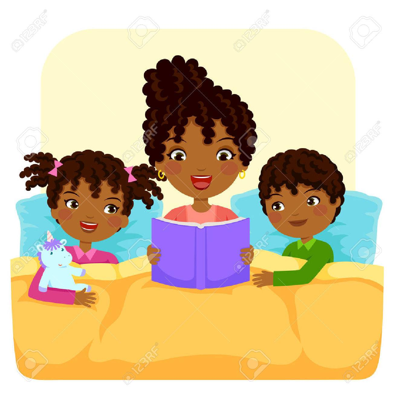 dark skinned woman reading bedtime story to children royalty free rh 123rf com bedtime clipart black and white bedtime routine clipart free