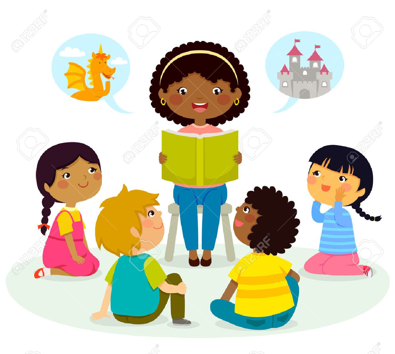 black teacher reading a book to kids of different ethnicities - 70226557