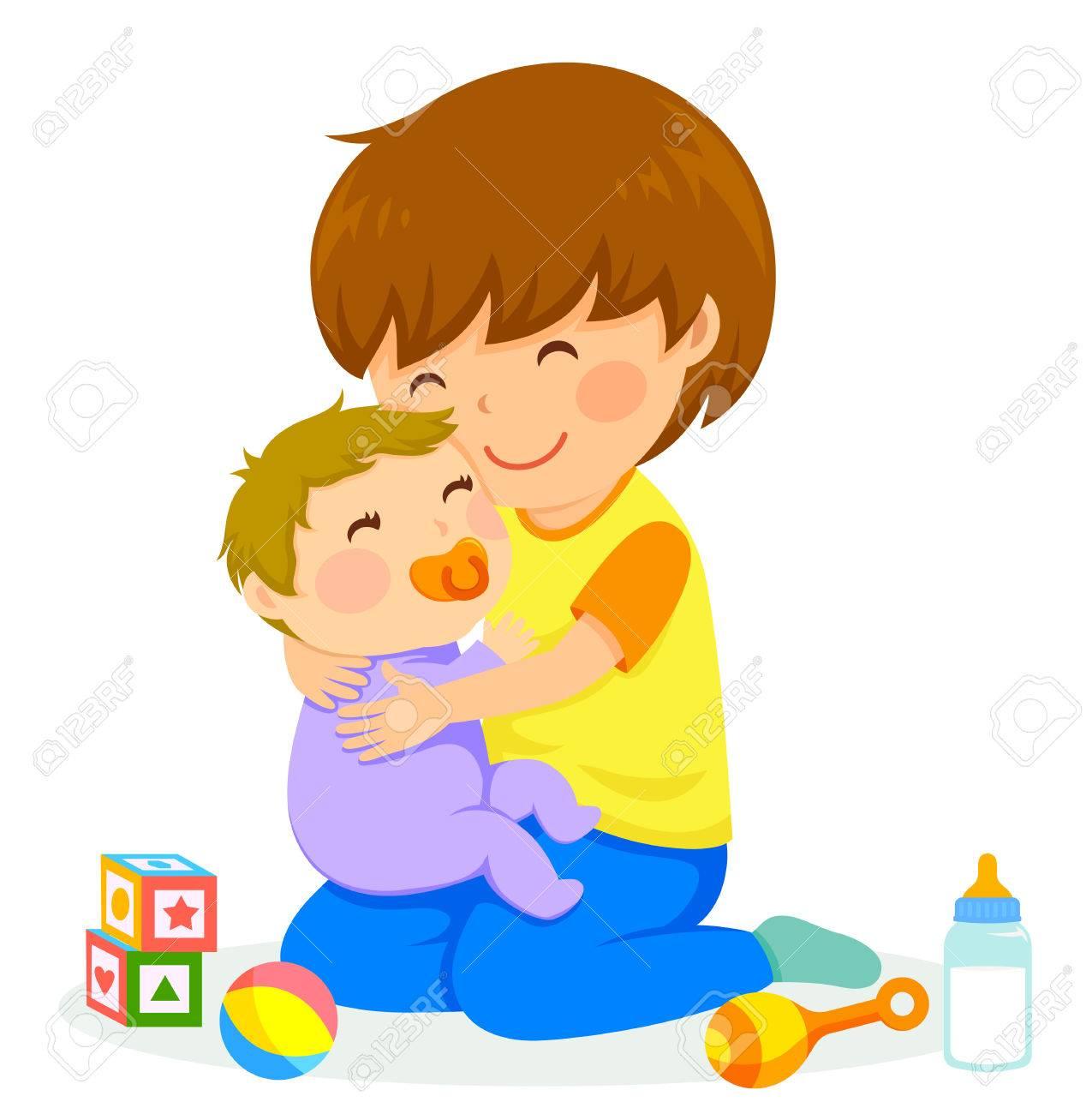 little boy hugging a baby - 83237776