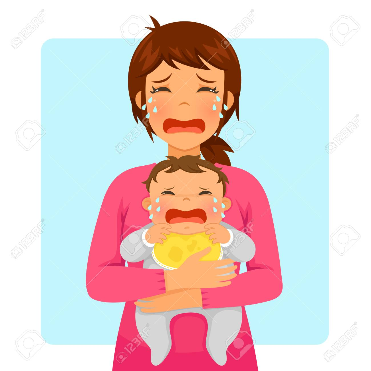 Young mother crying while holding her crying baby - 94187496