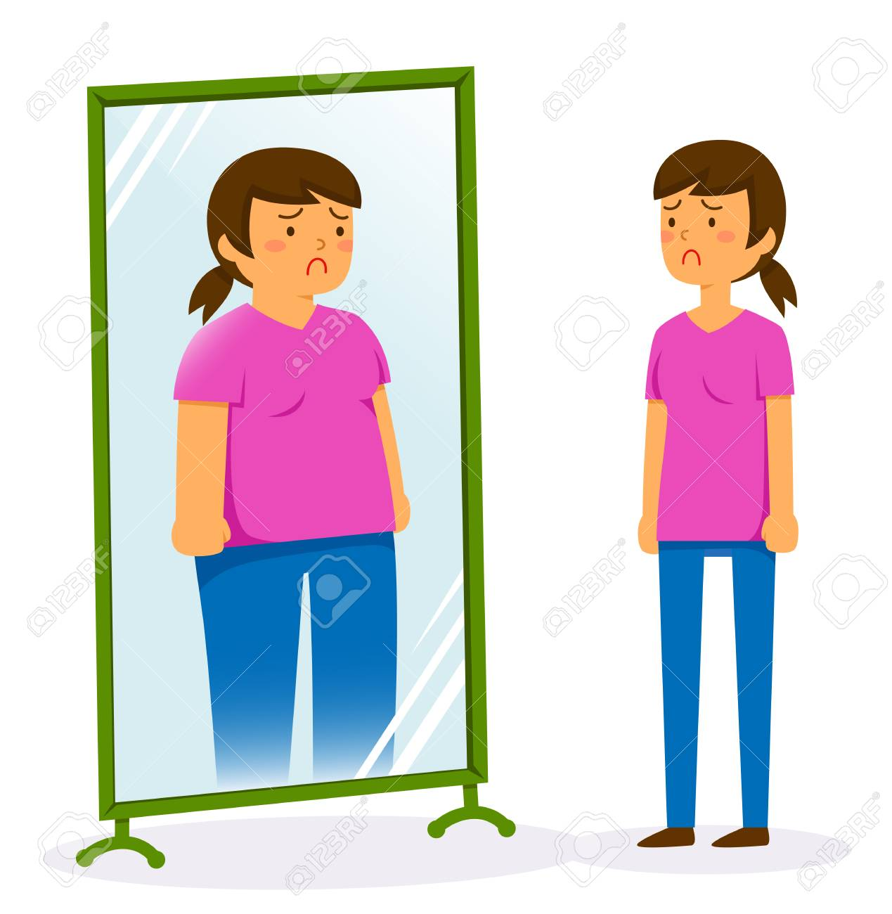 Unhappy Woman Looking In The Mirror And Seeing A Fat Image Of ...