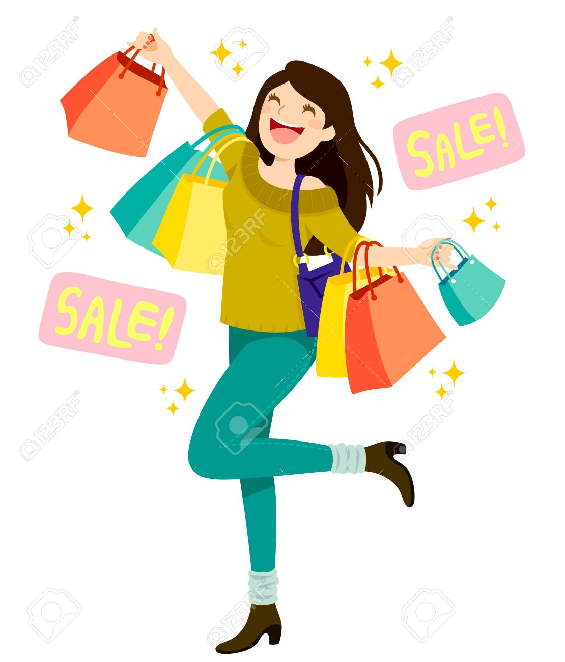 Happy young woman holding shopping bags and enjoying sales - 108774940