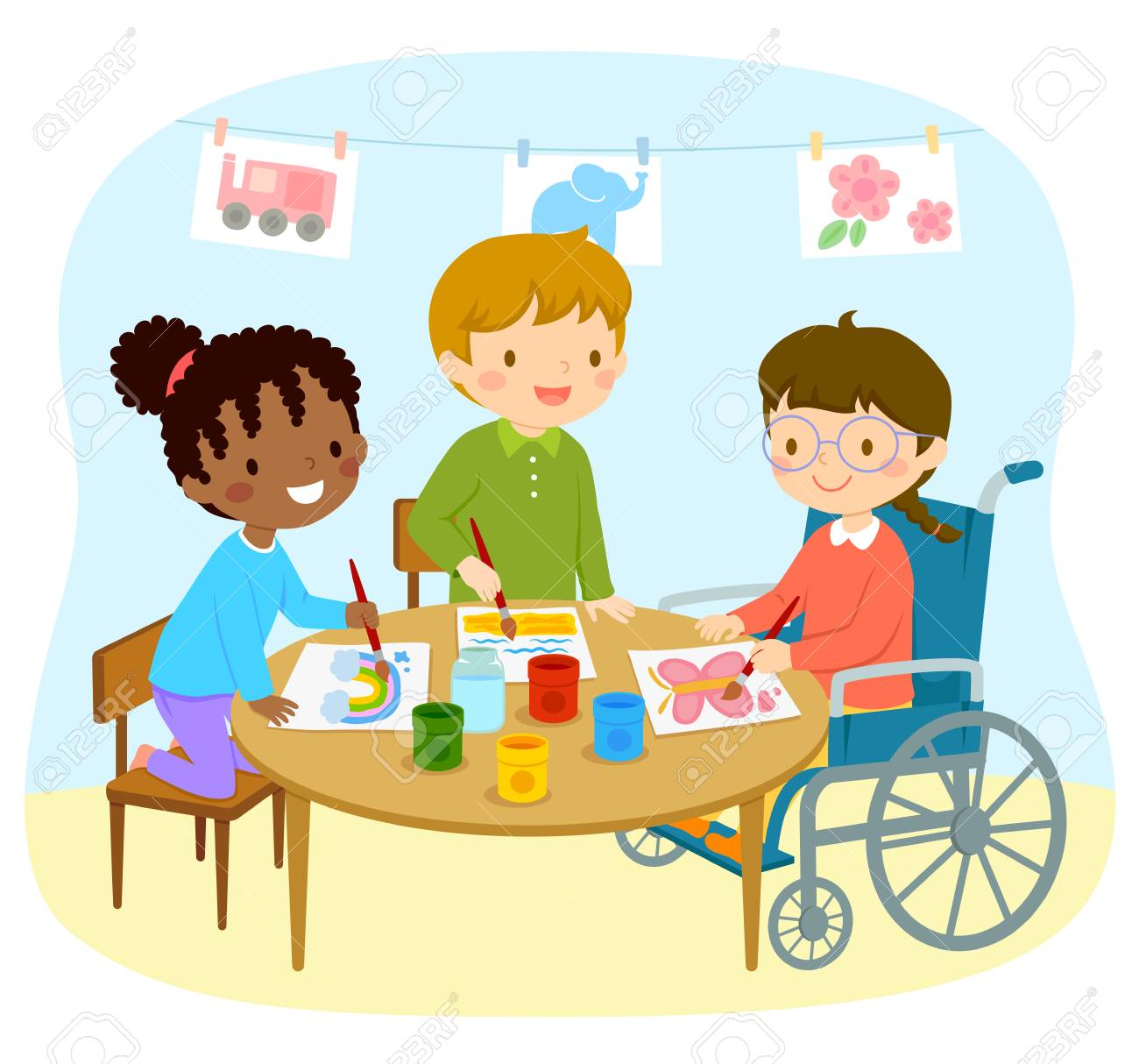 Disabled girl in a wheelchair drawing with her friends in the kindergarten - 118909474