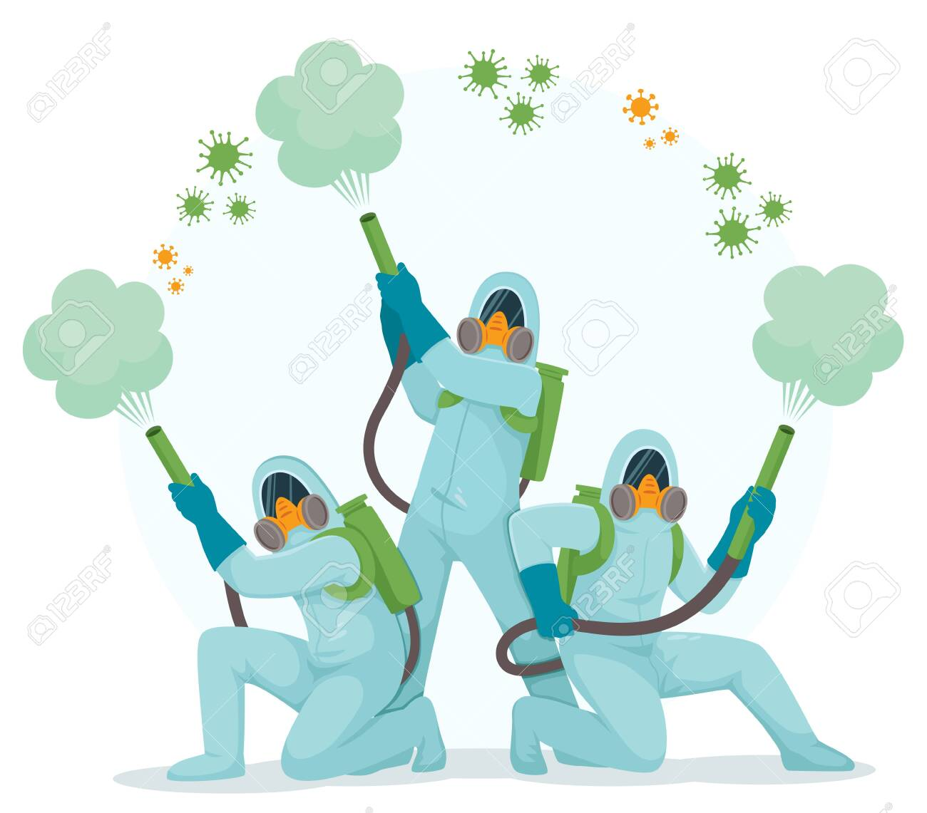 People in hazmat suits and protective masks standing in superheroes pose and spraying disinfecting gas to kill viruses. - 143513820