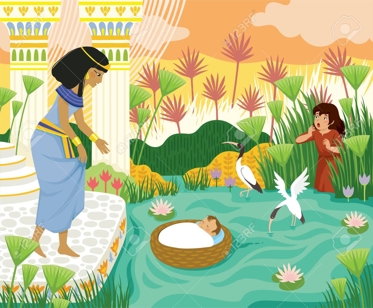 Passover biblical story of baby Moses in the basket floating on the Nile towards Pharaohs daughter with his sister Miriam watching behind the papyrus. - 143513821