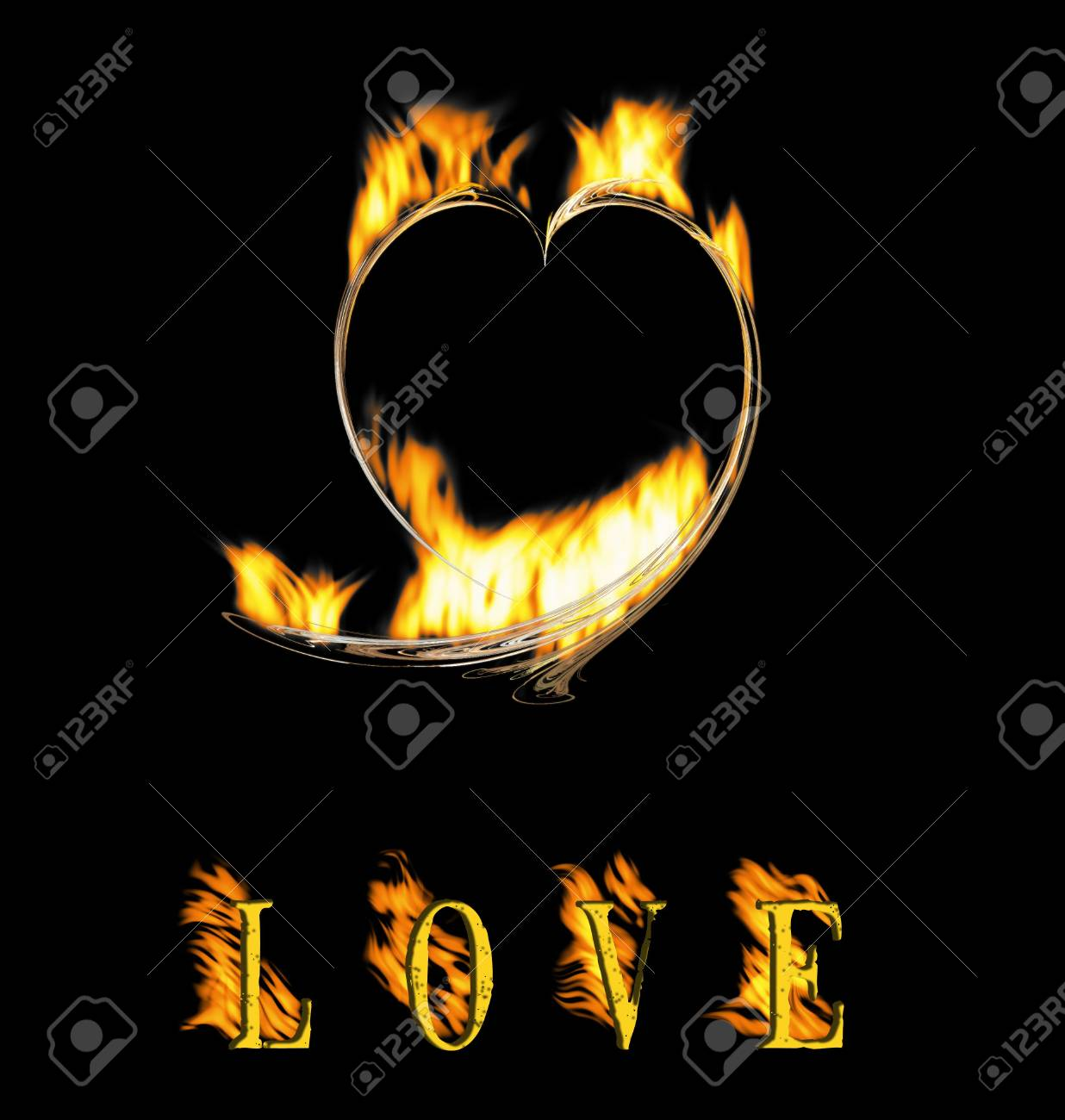 Symbol heart and an inscription love the love, burning on fire Stock Photo - 6413922