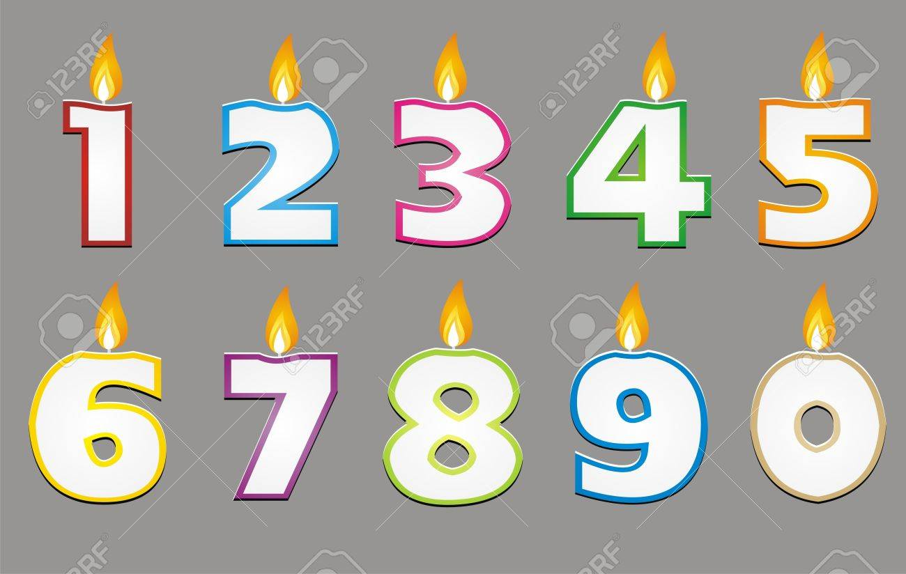Birthday Candle With Colorful Outline Vector Stock