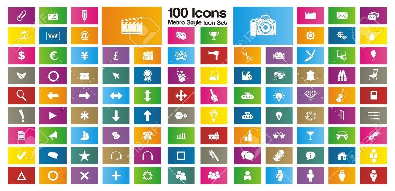 100 metro style rectangle icon sets Stock Vector - 20237398