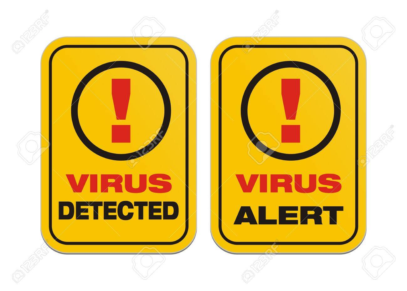 virus alert, virus detected - yellow signs Stock Vector - 20363572
