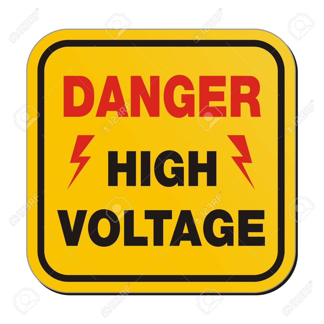 danger high voltage - yellow sign Stock Vector - 20823348