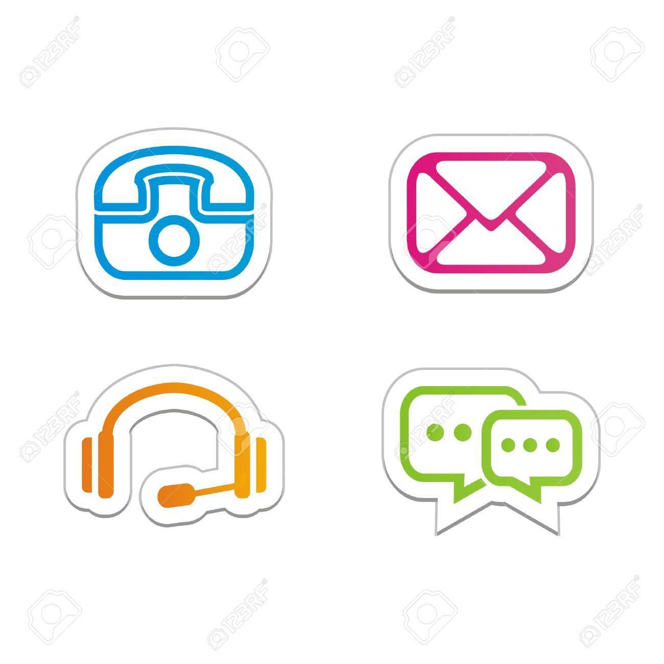Contact symbols stickers stock vector 21877297