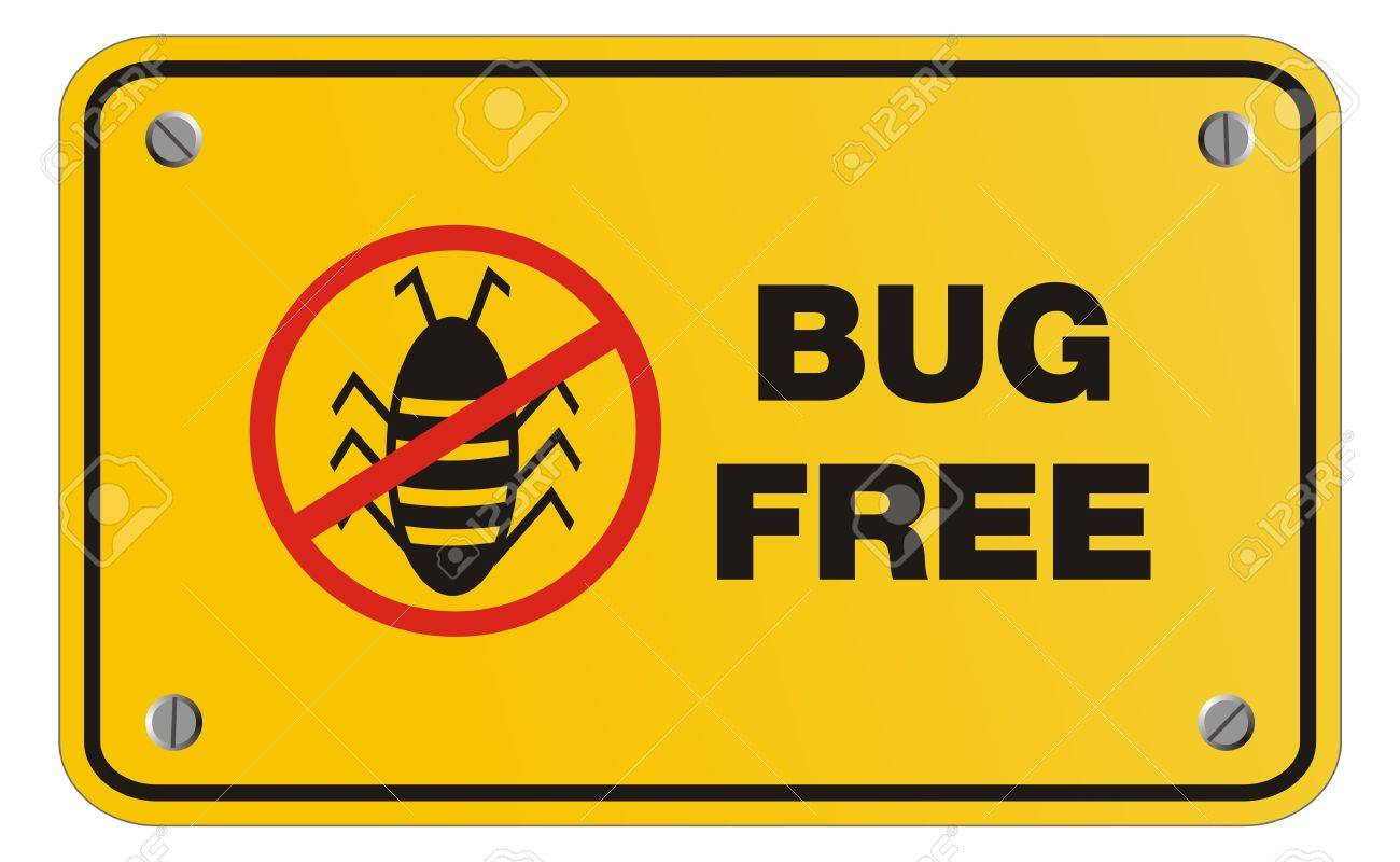 bug free yellow sign - rectangle sign Stock Vector - 22390417