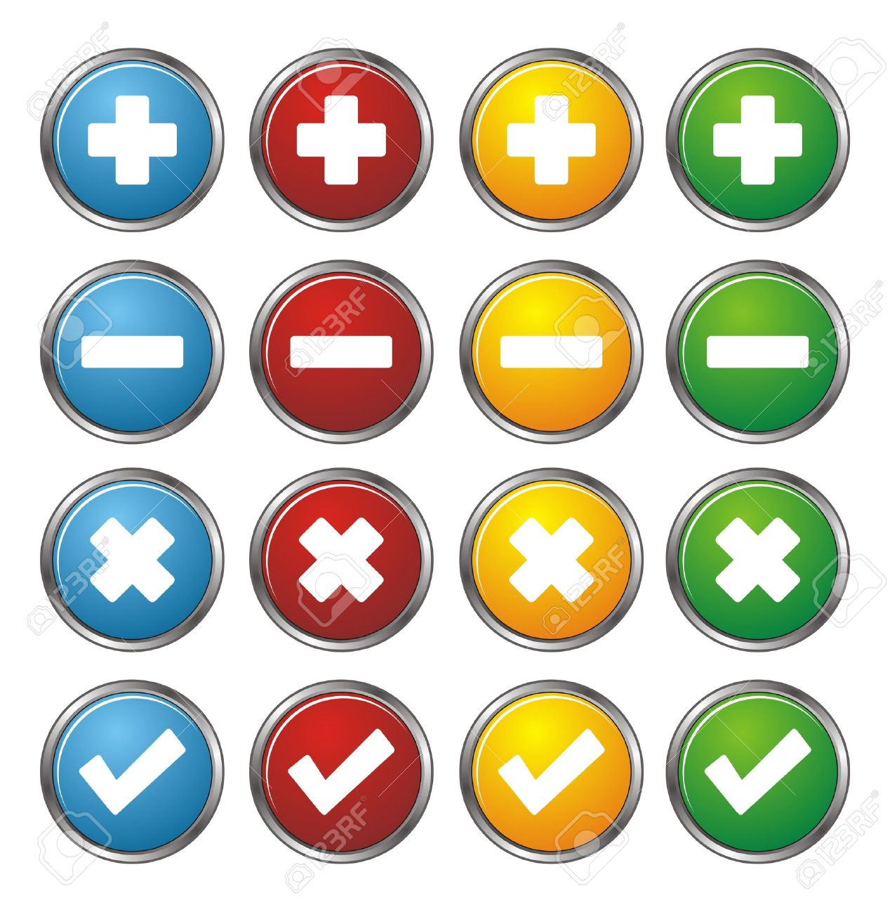 plus, minus, check, cross circle buttons Stock Vector - 22509569