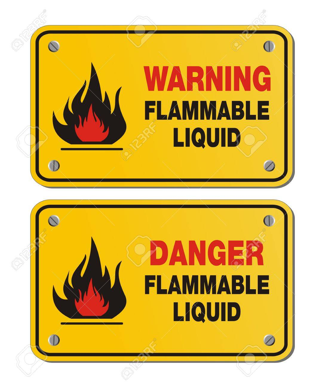 rectangle yellow signs - warning and danger flammable liquid Stock Vector - 24156366