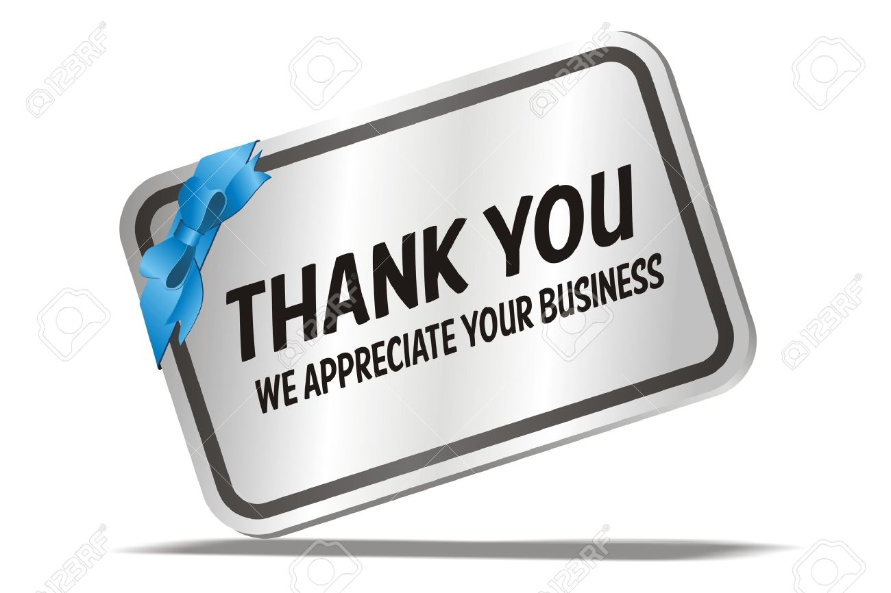 Thank You We Appreciate Your Business - Silver Card Royalty Free ...