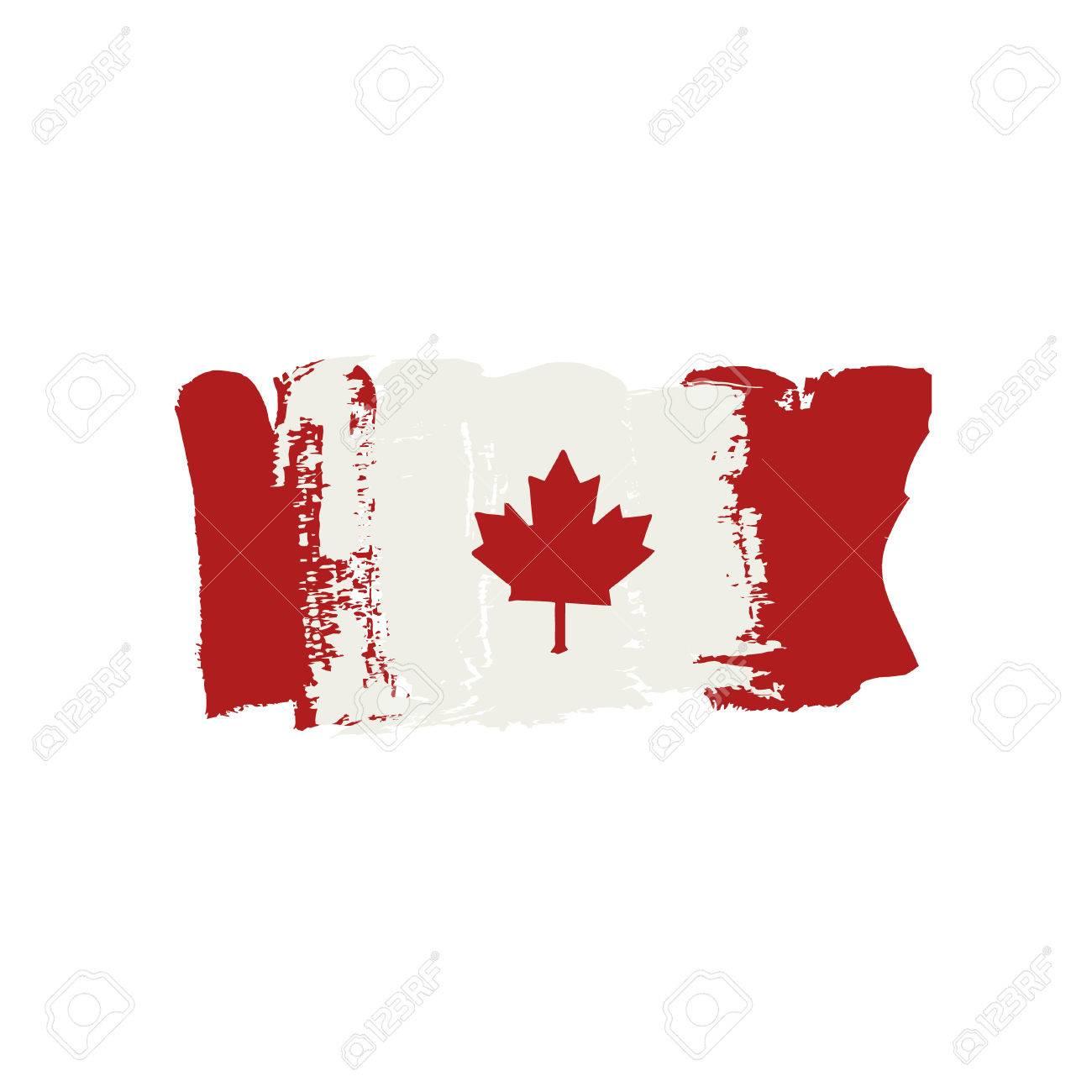Indicador De Canadá Pintado Por Pinturas Cepillo De Mano. Bandera ...