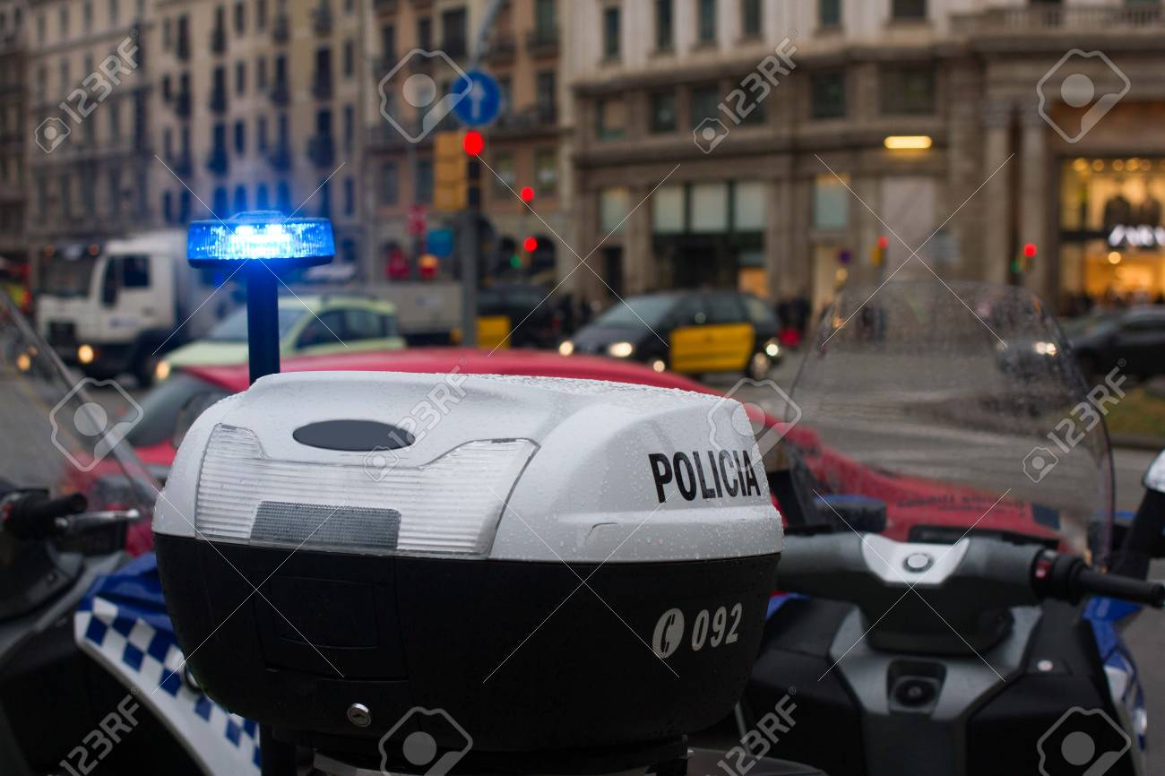 Spanish police car standing in the yard, Upper part with lights