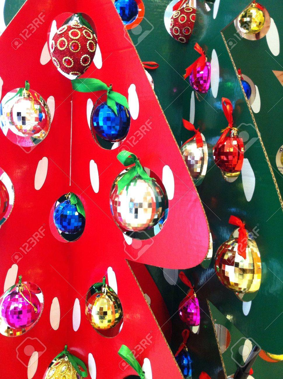creative christmas tree made out of cardboard with ornaments stock photo 24182884