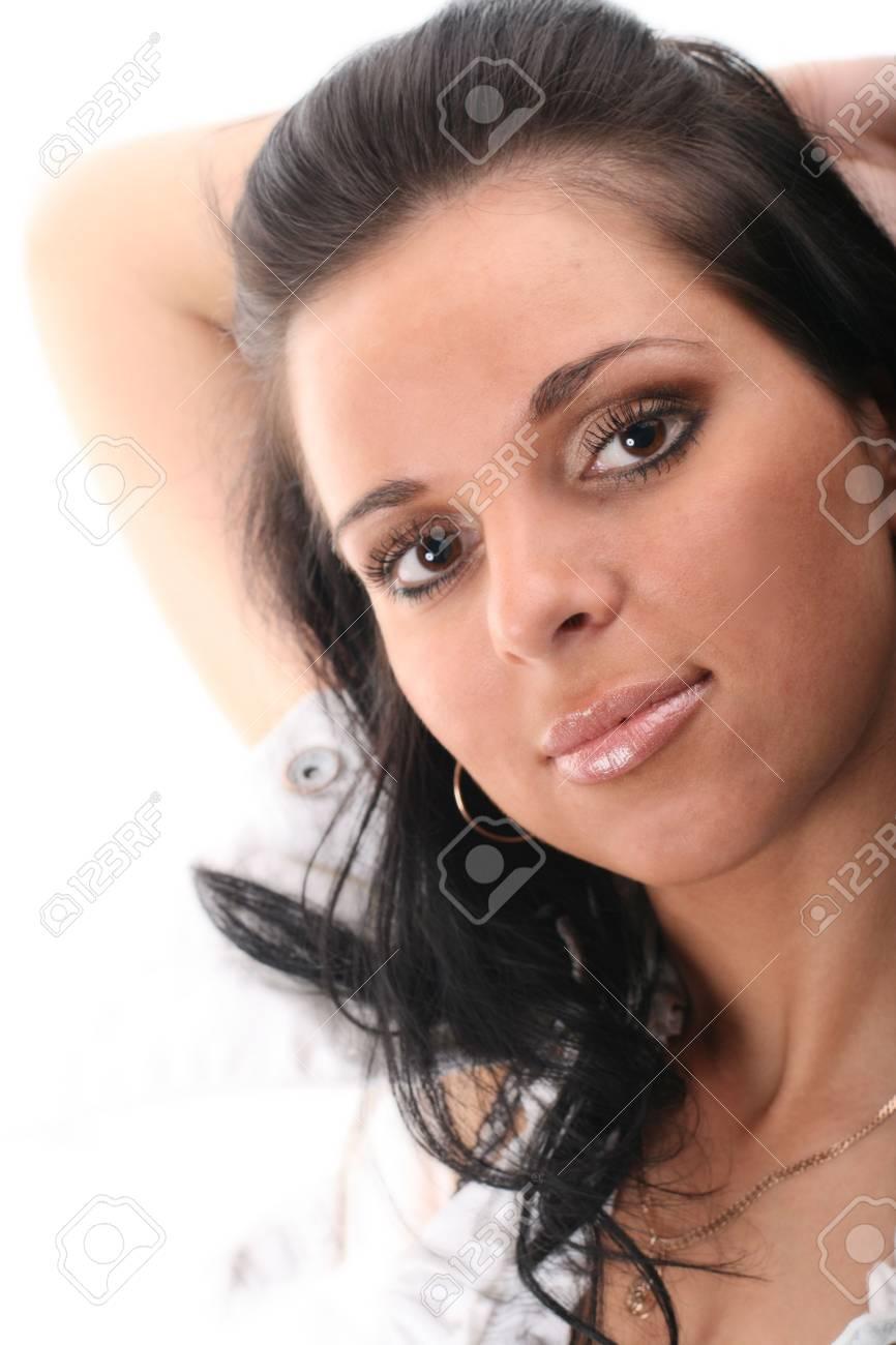 beautiful girl portret on white Stock Photo - 2456096