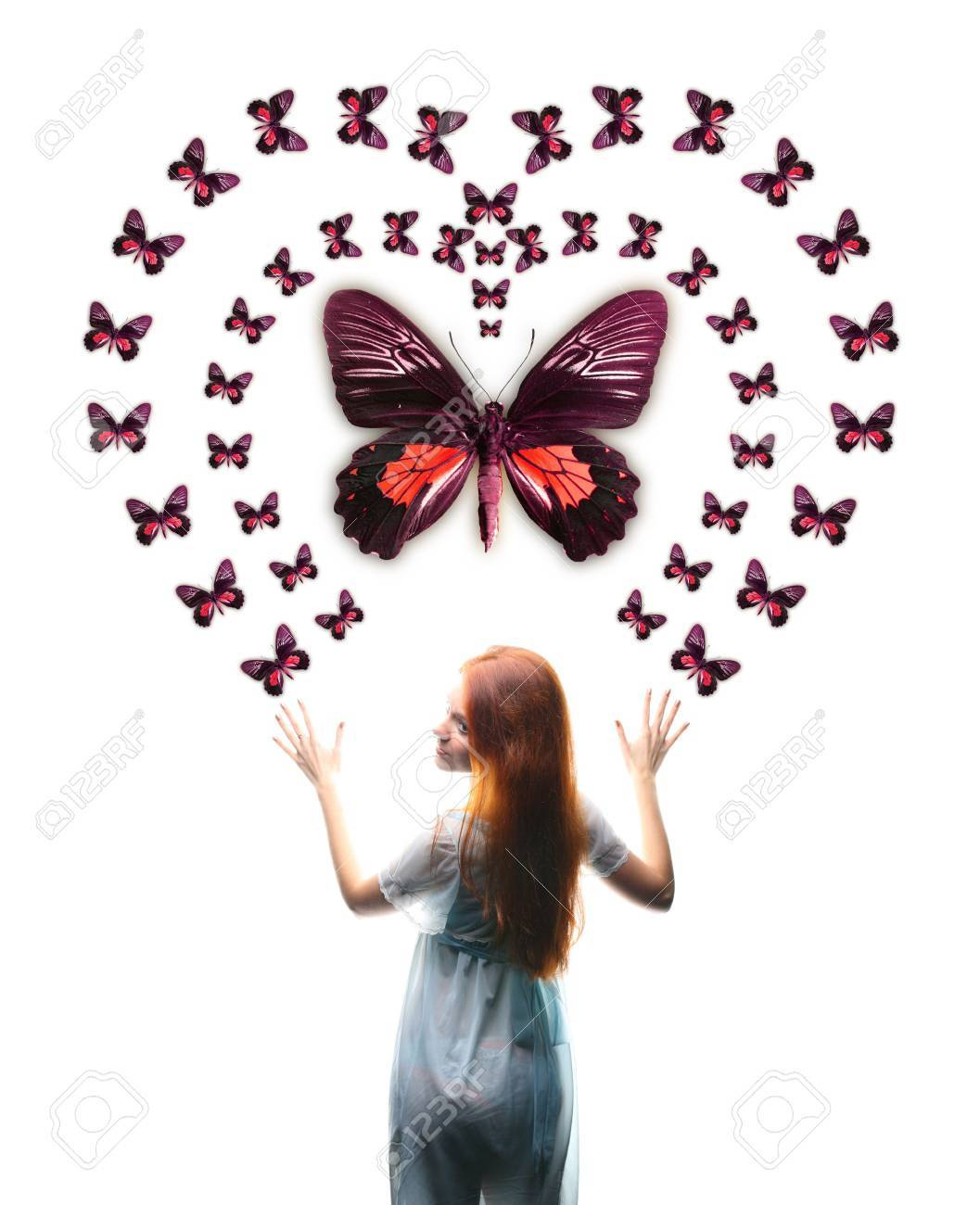 Girl and big red butterfly heart Stock Photo - 2486358