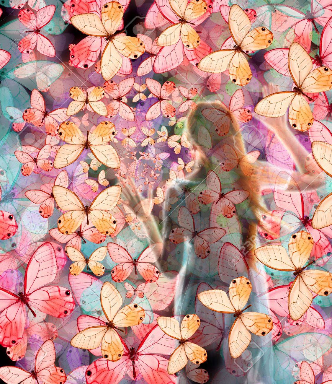 Girl in butterfly night colored dream Stock Photo - 2498070