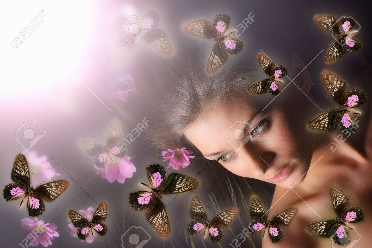 beautiful butterfly and model girl Stock Photo - 2498033