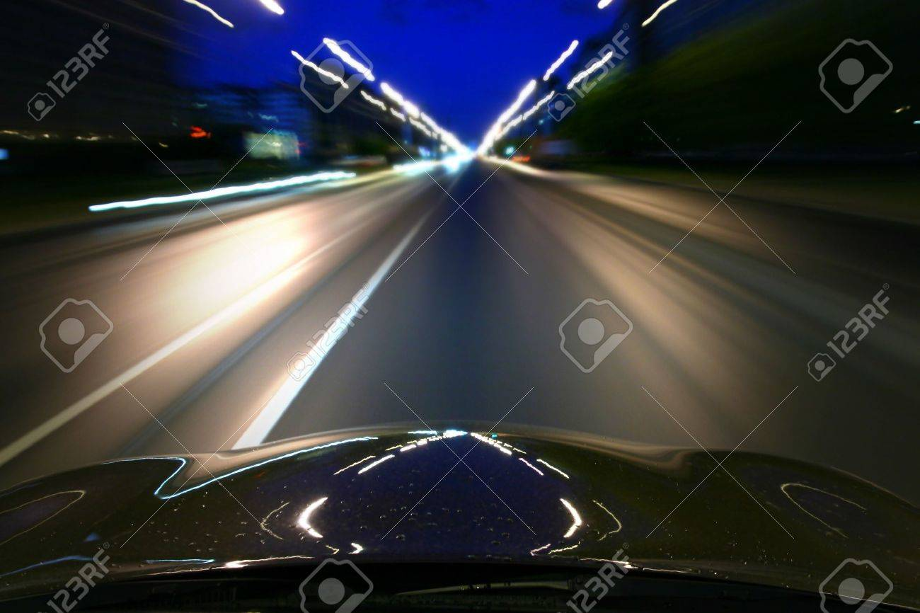 speed drive on car at night motion blurred Stock Photo - 3779402