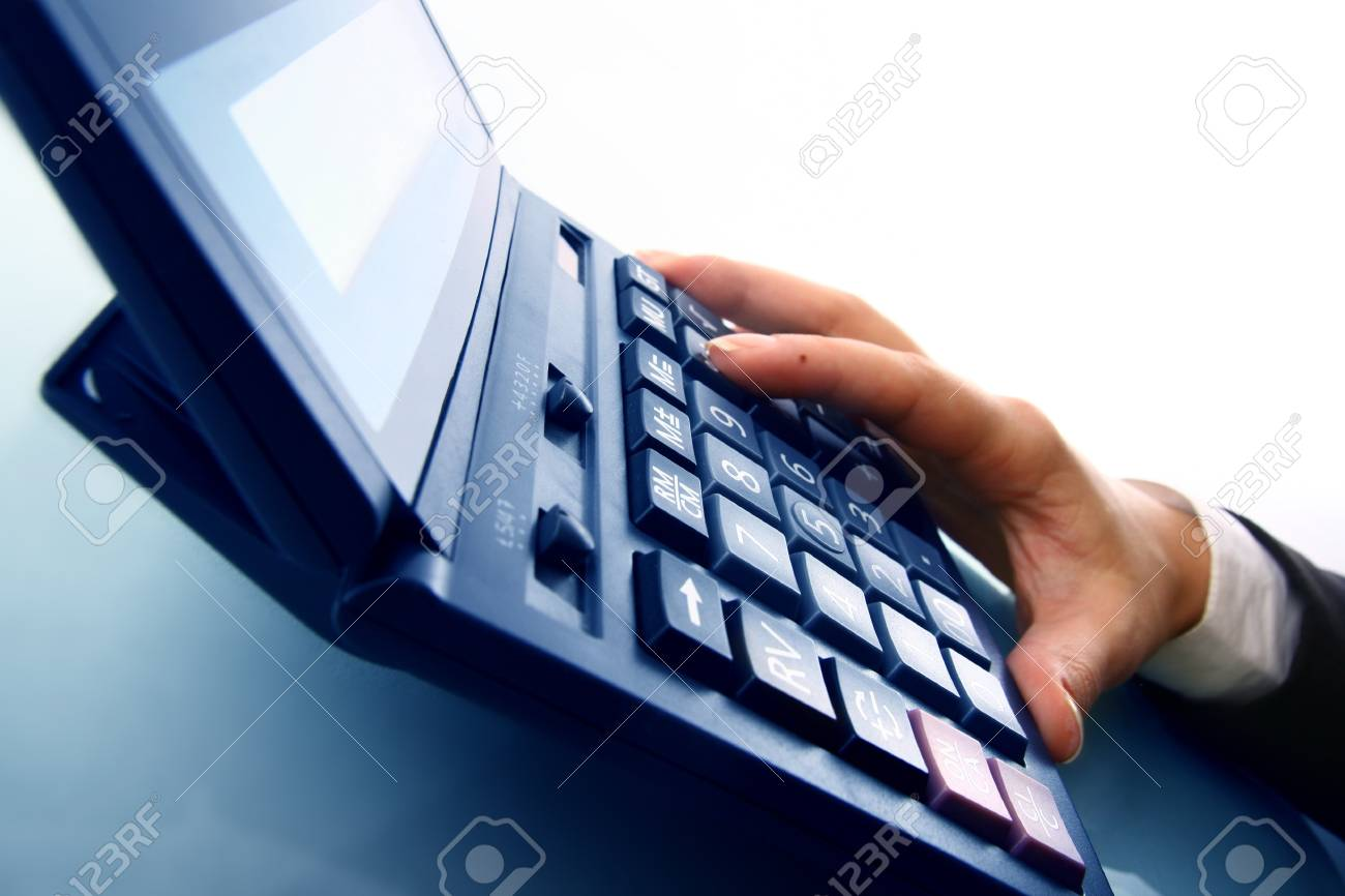girl hand calculate on white background Stock Photo - 4279398